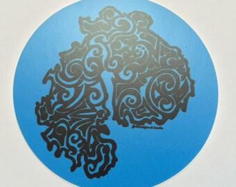 """Sticker - """"Mount Desert Island Tribal Tattoo"""" - Round Vinyl Sticker"""