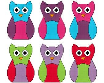 Six Mini Owls v2 (38) Cross stitch pattern / chart bird animal colourful pdf instant download printable