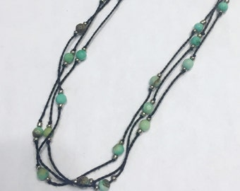 Turquoise knotted necklace - handmade gifts for her!