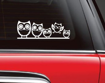 Personalized Owl Family, Owl Car Decal, Owl Family Decal