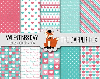 Valentines Day Digital Paper Pack Pink and Teal - INSTANT DOWNLOAD - 12x12 - stripes heart digital paper valentines love