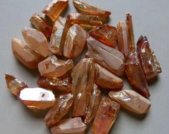 26pcs Natural Raw Crystal Quartz Point Beads Titanium Quartz