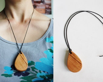 Wooden Teething Necklace | Wooden Jewelry | Tear Drop Necklace | Wooden Teardrop Necklace | Cherry Wood Necklace | Baby Teething Necklace