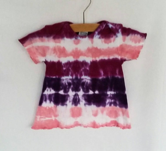 Hand Dyed Tie Dye/Pink, Raspberry, Purple Bullseye Design/Infant & Toddler/Eco-Friendly Dying