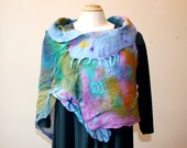 nuno felted painted silk and merino wool artwear shawl/ poncho/ vest /wrap, reversible and very versatile