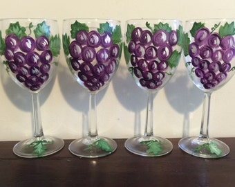 Hand painted wine glasses with grapes design