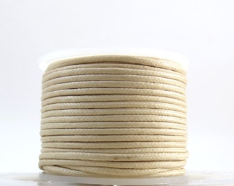 2mm Beige Cord, Natural Waxed Cotton Cord, 2mm Cotton Cord, 25 Meters Natural Cord, Cotton Necklace Cord, Item 710c