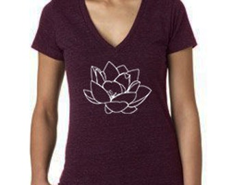 Clearance Yoga Clothes, Lotus Art, Triblend, Purple, Deep V-Neck T-Shirt, sale