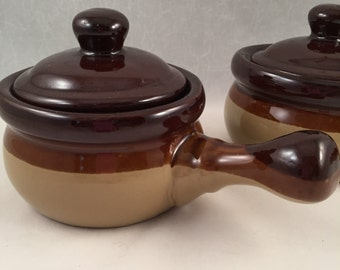 Set of 2, Two Tone Brown French Onion Soup Bowls/Mugs with Lids
