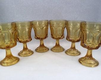 Set of 6 Amber Gold Fairfield Stemmed Glasses, Goblets, Drinking Glasses 6 oz.