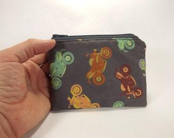 motorcycle zipper pouch, biker coin purse, motorcycle change purse, coin purse