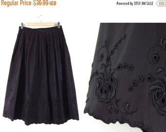 LAST CALL 60s Black Floral Eyelet Evening Skirt - Vintage Union Made Formal Black Midi Dirndl Pleated Full Skirt Scalloped Hem  29.5 W Us 8