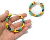 20% SALE - Beaded Hoop Earrings  Turquoise Native American , 3.14 inch Hoop Earrings  Bead crochet Hoop Earrings - Seed bead jewelry