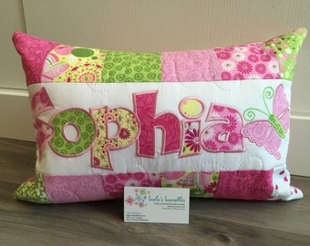 Pink, yellow and green personalized children's pillow case, 12x18 in