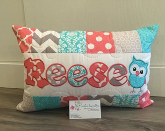 Teal and Coral children's pillow case with name 12x18 inches