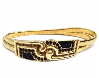 Judith Leiber gold  Expandable Cabochon Belt