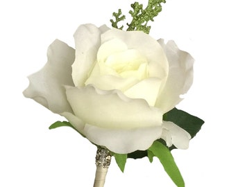 Boutonniere-Ivory medium rose with greenery-Pin included-Pick Ribbon color