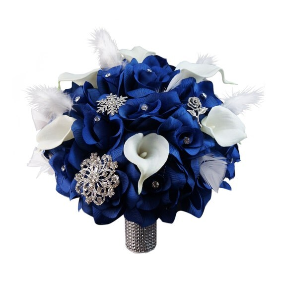 Royal Blue And Silver Wedding Flowers: 10 Wedding Bouquet Royal Blue Roses Calla Lilies