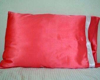 Coral Satin Pillowcase