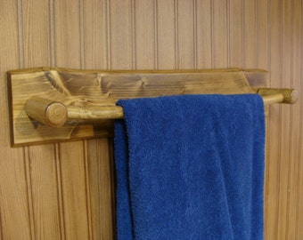 "Rustic Log Bathroom Towel Rack Holder w/Flat Back 27"" Overall Length"