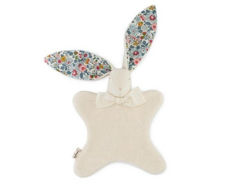 """Heirloom Baby Toy - Personalized Gift - Soft and Sweet Bunny - Organic Cotton + Liberty of London """"Betsy"""" floral print Lt. Blue Bunny Lovey"""
