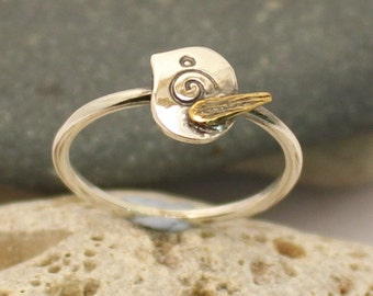 Bird Ring - Sterling silver and brass - Handmade Stackable Ring - Bird Gift Ideas  -  Midi Ring - Gift for her