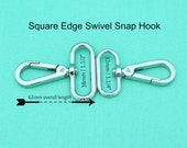 32mm / 38mm SQUARE EDGE ALLOY Swivel Snap Hooks - Silver - Hand Bag Hardware Australia