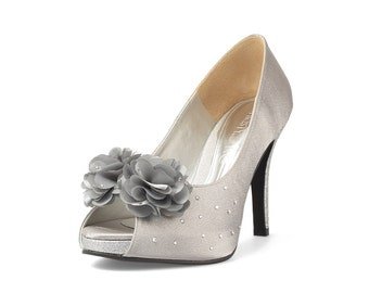 Jackie Silver Blossom V2 Floral Wedding Shoes, Silver Glitter Wedding Heels, Silver Satin Floral Heels, Silver Evening Heels