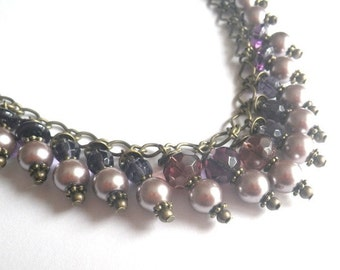 Mary Shelley - necklace in vintage style jewellery collier bronze violet mauve