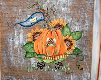 Pumpkin Cart, Hand Painted, Recycled Cupboard Door