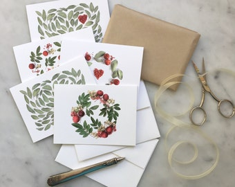 Botanical art ~ set of five assorted cards ~ green and red
