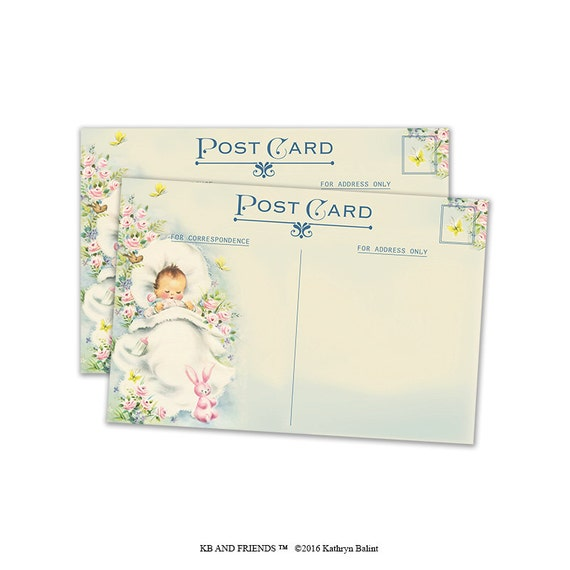 Vintage Baby Shower Thank You Cards: Baby Thank You Cards / Printable Baby Shower Cards/ ACEO