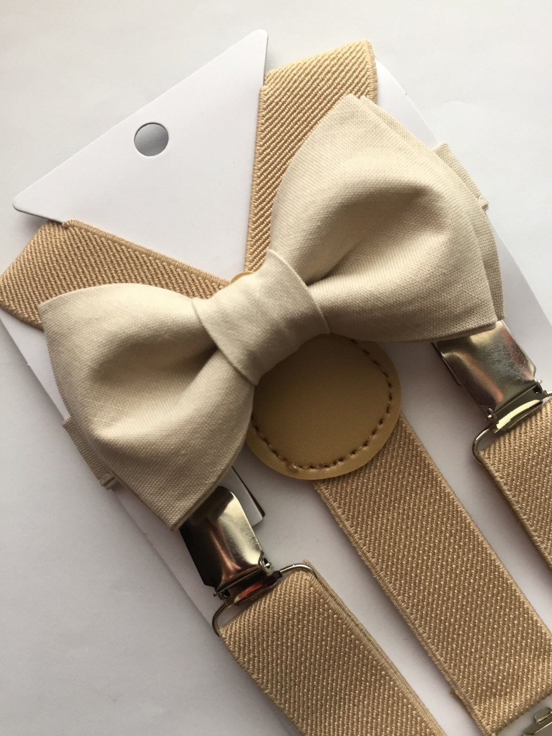 chagne gold bow tie and beige suspenders set
