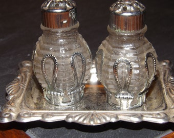 Vintage Silver Plated Made In Occupied Japan Salt & Pepper Shakers Set
