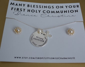 First communion necklace, pearl cross necklace, necklace and earrings set