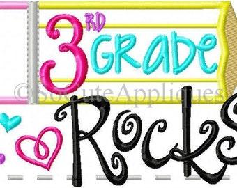 3rd Grade Rocks (GIRL)!! Embroidered Shirt/Bodysuit/Burp Cloth/Hand Towel!