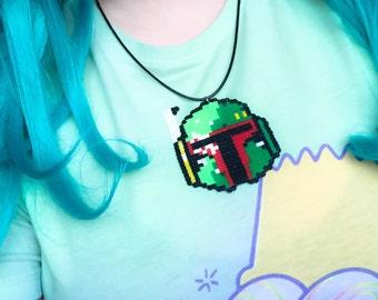 Boba Fett Star Wars hama bead sprite necklace - retro 8 bit pixels