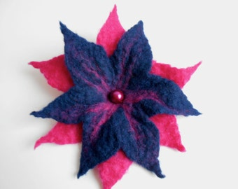 Felted flower brooch, navy blue and bright pink flower brooch, hot pink brooch, gift for her, Felt flower brooch, Felt brooch, flower brooch