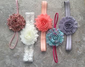 Shabby chic baby headband set, 5 headband set, Baby Bows, flower headband, baby headbands, baby girl headband, hair bows, baby shower gift