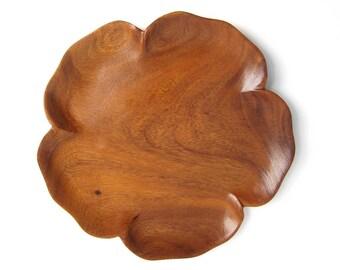 House of Monkeypod Hawaii's Finest Wooden Flower Shape Dish Tray