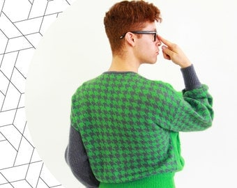 Green & grey houndstooth sweater