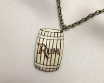 BARREL of RUM....Laser cut birch wood PIRATE influenced necklace