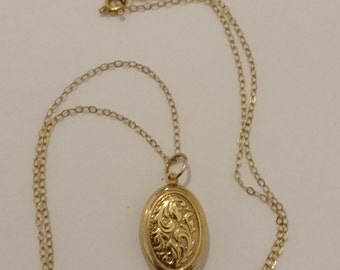 vintage 9k gold locket and chain