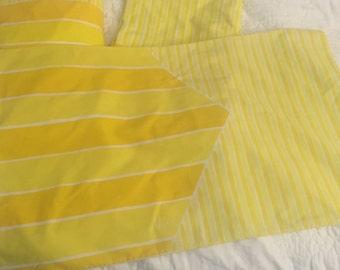 Vtg VERA Neumann Mod Yellow Striped 3Pc Sheet Set Fitted Flat Pillowcase Sz Full