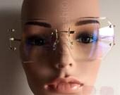 SALE!!OVERSIZE Classic VINTAGE Retro Style Clear Lens Eye Glasses Rimless Gold Frame Coachella | Hipster Retro Glasses | Vintage Retro Style