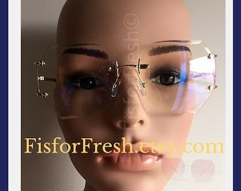 WHOLESALE OVERSIZE Classic VINTAGE Retro Style Clear Lens Eye Glasses Rimless Gold Frame Coachella | Hipster Retro Glasses