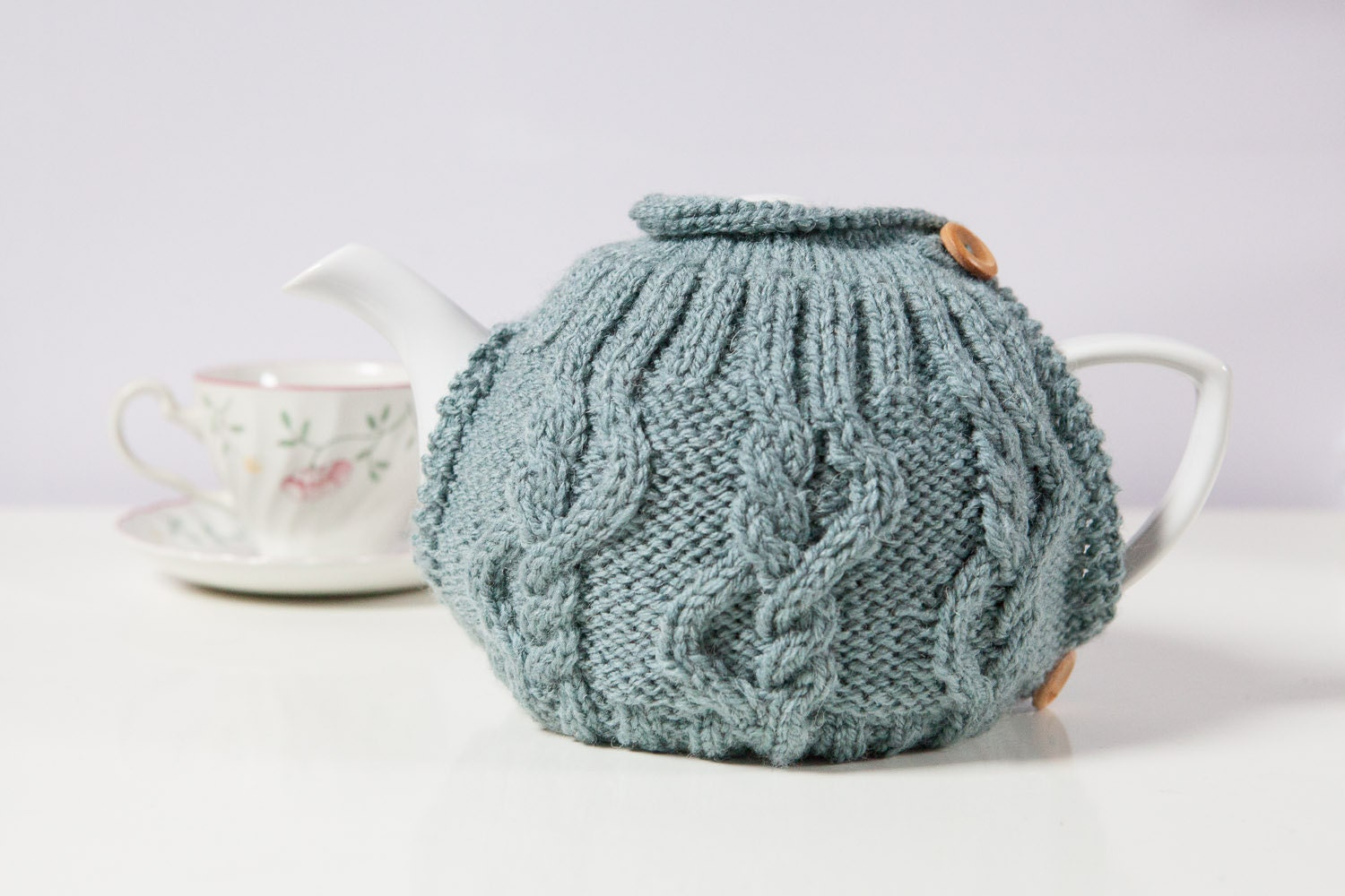 Hand Knitted Tea Cosy Patterns : Blue hand knit tea cosy Teapot cosy Wool tea cosy by SweetMaya