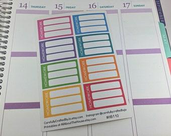 Homework Half Box - Planner Stickers, Rainbow Sticker, Erin Condren, Plum Paper, MAMBI, planner accessory