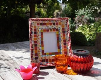 mozaieke fotolijst, rustieke fotolijst, landelijke fotolijstje hand made glass mosaic photo frame