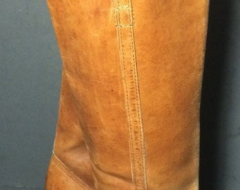 Frye Vintage Brown Leather Riding Motorcycle Boots Women's Size 5.5
